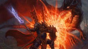 Превью обои битва, копье, щит, монстр, оружие, дракон, арт