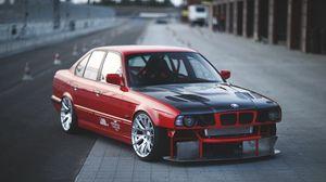 Превью обои bmw, e34, красный, авто, вид сбоку, спорткар