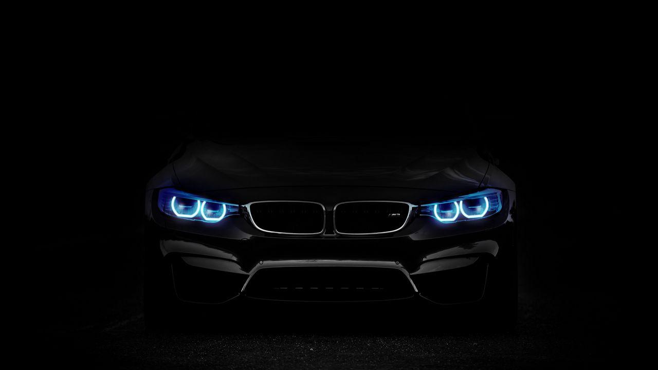 Обои bmw, фары, подсветка, автомобиль, темный