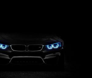 Превью обои bmw, фары, подсветка, автомобиль, темный
