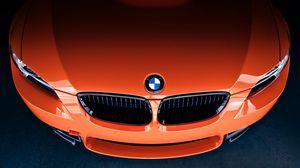 Превью обои bmw, m3, orange, front, бмв, оранжевый, шильдик, значок