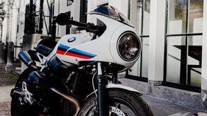 Превью обои bmw, мотоцикл, байк, белый