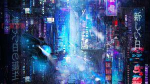 Превью обои будущее, неон, город, дождь