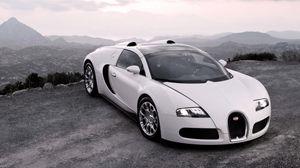 Превью обои bugatti, veyron, авто, спорткар, белый, капот, фары, люкс