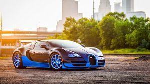 Превью обои bugatti, veyron, grand, синий, вид сбоку