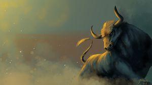 Превью обои бык, пыль, животное, арт