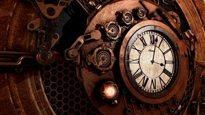 Превью обои часы, механизм, стимпанк, время, стрелки, циферблат