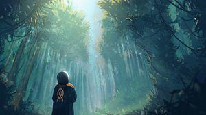 Превью обои человек, лес, арт, деревья, одиночество