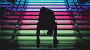 Превью обои человек, лестница, разноцветный
