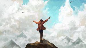 Превью обои человек, свобода, скалы, небо, арт