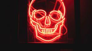 Превью обои череп, неон, свечение, темный