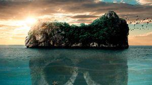 Превью обои череп, остров, мистический, таинственный, океан
