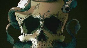 Превью обои череп, скелет, рыбы, арт