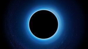 Превью обои черная дыра, затмение, звезды, сингулярность, планета, пространство
