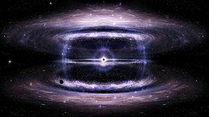 Превью обои черная дыра, космос, звезды, круги, вселенная