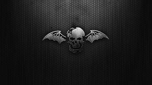 Превью обои черный, череп, крылья, сетка
