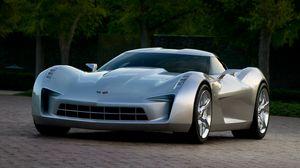 Превью обои chevrolet, corvette, stingray, серый, авто