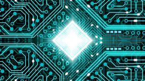 Превью обои чип, процессор, свечение, схема, ядро, дорожки