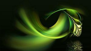 Превью обои чёрный, фон, абстракция, перо, вода, зеленый