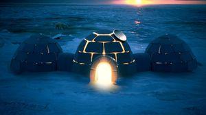 Превью обои цивилизация, спутниковая тарелка, дом, холод, мороз, северный полюс