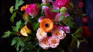 Превью обои цветы, букет, черный фон
