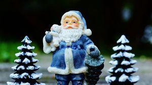 Превью обои дед мороз, санта клаус, елки, новый год