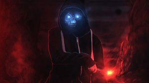 Превью обои демон, череп, капюшон, темный, свечение
