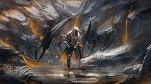 Превью обои демон, дракон, пещера, мечи