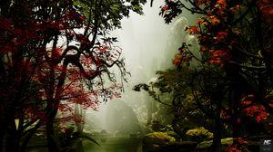 Превью обои деревья, осень, туман, арт, скалы