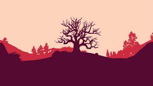 Превью обои дерево, вектор, арт, холм, пейзаж