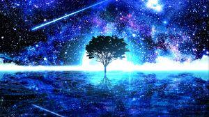 Превью обои дерево, блеск, арт, звезды, яркий