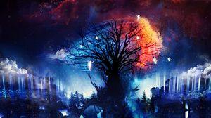 Превью обои дерево, феи, арт, силуэты, ночь