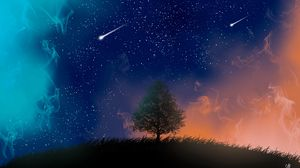 Превью обои дерево, ночь, звезды, арт, дым, метеоры
