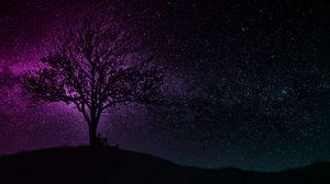 Превью обои дерево, силуэт, звездное небо, темный, арт