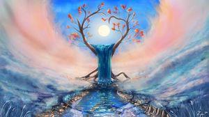 Превью обои дерево, водопад, солнце, фантастика, арт