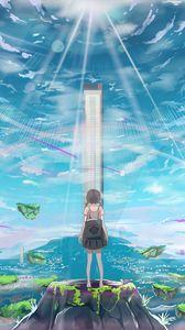 Превью обои девочка, остров, здание, свет, лучи, аниме, арт