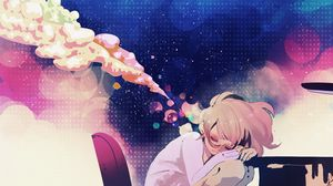Превью обои девушка, аниме, мечты, стол