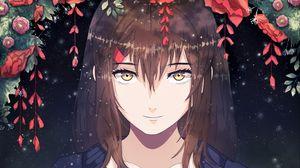 Превью обои девушка, аниме, улыбка, милая, цветы