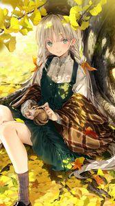 Превью обои девушка, белка, дерево, листья, ветки, аниме, арт