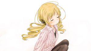 Превью обои девушка, блондинка, милая, свитер