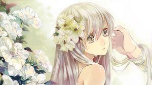 Превью обои девушка, блондинка, печаль, слезы, цветы