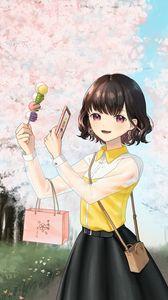 Превью обои девушка, десерт, фото, сакура, цветы, аниме