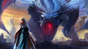 Превью обои девушка, дракон, фэнтези, меч, крылья, пасть, плащ