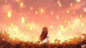 Превью обои девушка, фонари, огни, трава, арт