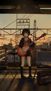 Превью обои девушка, гитара, аниме, музыкант, электрогитара, арт