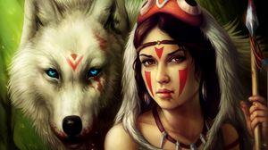 Превью обои девушка, копье, воительница, волк