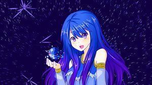 Превью обои девушка, космос, аниме, луна, планета
