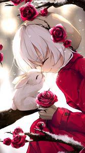 Превью обои девушка, кролик, счастье, улыбка, розы, аниме