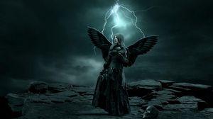 Превью обои девушка, крылья, темнота, молния, череп, скала