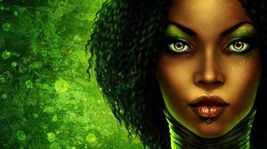 Превью обои девушка, лицо, зеленый, макияж, пирсинг, губы